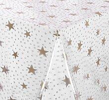Transparente Tischdecke Folie, LFGB geprüft, bedruckt Gold Sterne, Meterware, 180x140 cm, Länge wählbar, Beautex