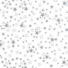 Transparente Tischdecke mit Sternen Grau DIKCKE