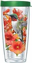 Transparenter Kolibri-Becher mit grünem Deckel,
