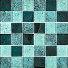 Transparentes Crystal Glasmosaik petrol Wand