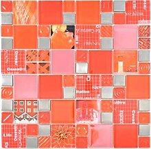 Transparentes Crystal Mosaik Glasmosaik silber rot
