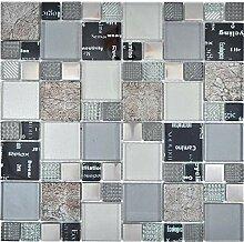 Transparentes Crystal Mosaik Glasmosaik silber