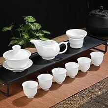 Transparentes weißes Porzellan Teeset, Keramik,