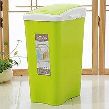 Trash Home Badezimmer Küche Wohnzimmer Große überdachte Kunststoff Mülleimer Kreative Covered Körbe ( Farbe : Grün )
