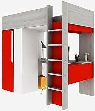 Trasman BO1 Hochbett mit Schrank und Schreibtisch, 200 cm, melaminharzbeschichtete Holzspanplatten, molina / weiß / rot, 182 x 110 x 206 cm