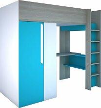 Trasman BO1 Hochbett mit Schrank und Schreibtisch, Liegefläche 200x90 cm, Melaminholzspanplatten, Grau/Weiss/Blau, Maße montiert 183 x 110 x 206 cm