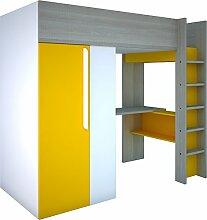 Trasman BO1 Hochbett mit Schrank und Schreibtisch, Liegefläche 200x90 cm, Melaminholzspanplatten, Grau/Weiss/Gelb, Maße montiert 183 x 110 x 206 cm
