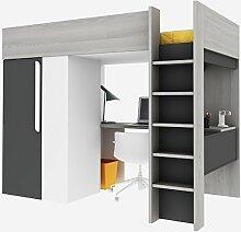 Trasman BO1 Hochbett mit Schrank und Schreibtisch, Liegefläche 200x90 cm, Melaminholzspanplatten, Grau/Weiss/Graphit, Maße montiert 183 x 110 x 206 cm