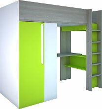 Trasman BO1 Hochbett mit Schrank und Schreibtisch, Liegefläche 200x90 cm, Melaminholzspanplatten, Grau/Weiss/Grün, Maße montiert 183 x 110 x 206 cm