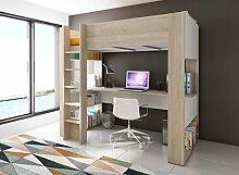 Trasman BO5 Hochbett 200 cm mit Schreibtisch, melaminharzbeschichtete Holzspanplatten, bardolino / weiß, 205 x 109 x 183 cm