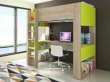 Trasman BO5 Hochbett 200 cm mit Schreibtisch, melaminharzbeschichtete Holzspanplatten, bardolino / weiß / grün, 205 x 109 x 183 cm