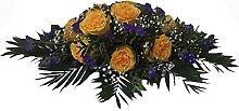 Trauergesteck mit gelben Rosen - frische Blumen