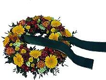 Trauerkranz in Gelb mit Trauerschleife von Flora