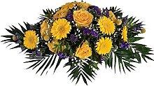 Trauerspange mit gelben Rosen und Craspedias von