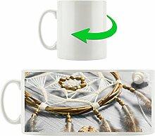 Traumfänger mit Federn B&W Detail, Motivtasse aus weißem Keramik 300ml, Tolle Geschenkidee zu jedem Anlass. Ihr neuer Lieblingsbecher für Kaffe, Tee und Heißgetränke