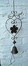 Traumhafter Deko-Hänger Glocke an Kette, Türglocke Blatt, 70 cm, Eisen