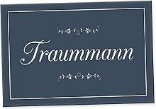Traummann Schild - Türschild (30 x 20 cm), Geschenkidee Geburtstagsgeschenk für den Freund bzw. Partner, Geschenk als Liebesbeweis, Liebesbotschaft für Männer, Überraschung zum Jubiläum