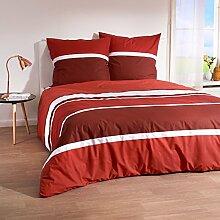 Traumschlaf Bettwäsche Streifen rot 155x200 cm +
