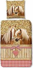 Traumschlaf Flanell Bettwäsche Pferde 135x200 cm