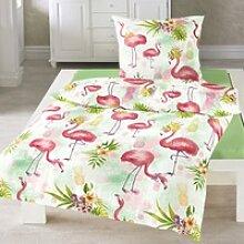Traumschlaf Seersucker Bettwäsche Flamingo rose