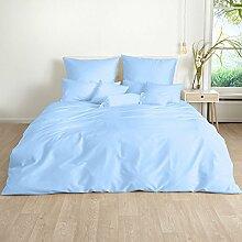 Traumschlaf Uni Mako-Satin Bettwäsche hellblau