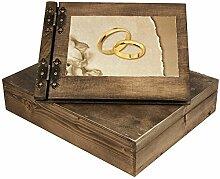 Trauung Holzfotoalbum mit Ringe in 3 D und Holzbox