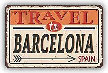 Travel to Barcelona City Spain Vintage Emblem -