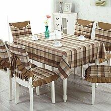TRE Baumwoll-Leinen-Tabelle Tuchgewebe/Garten-Tischdecke/Einfachen karierten Tischdecke/Tischdecke decke-C 130x180cm(51x71inch)