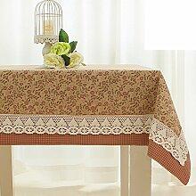 TRE Europäische Garten rote Blumen Stoff Tischdecke/Plaid Tabelle Tuch Spitze Nähen/ längliche Tischdecke-B 130x220cm(51x87inch)