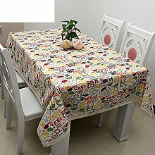 TRE Garten Tischdecke Stoff/Niedlichen Cartoon Tuch/ einfache Schlupf Tischdecke/ verschleißfeste isolierende Tuch-A 140x220cm(55x87inch)
