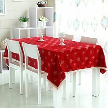 TRE gestickte Tischdecke Stoff/ festliche rote