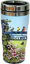 Tree-Free Greetings 77025 Becher To-Go, Edelstahl, 473ml Willkommensvögel – Kunstgegenstände für Sammler