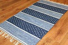 Trendcarpet Flickenteppich - Visby (Blau) Größe 70 x 300 cm