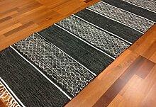 Trendcarpet Flickenteppich - Visby (Schwarz) Größe 70 x 200 cm