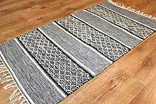 Trendcarpet Flickenteppich - Visby (schwarz-weiß) Größe 60 x 110 cm