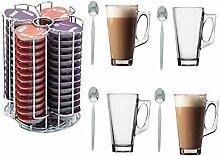 Trendi 52 Tassimo T-Discs Filtertütenhalter mit 4 Latte-Gläser, mit 4 Löffeln