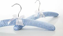 TRENDORIA, gepolsterte Kleiderbügel, Set 5 Stück, Vichykaro hellblau