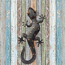 Luoji Metall Gecko Eidechse Garten Gecko Deko Outdoor Wand Dekor Metall Kunst Skulptur Gecko Garten Wand Dekor F/ür Outdoor Hinterhof Terrasse Rasen Zaun Dekorationen