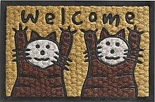 Trendstern  Kokos Fußmatte Katze Welcome Twins