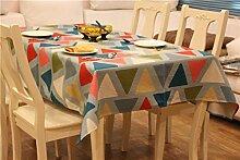 Trendy geometrische Muster pastoral aus 100% Baumwolle Tischdecke Restaurant-Tisch Tischtuch Picknick-Abdeckung für den Einsatz im Freien, 36 Zoll von 56 Zoll, Stil 4