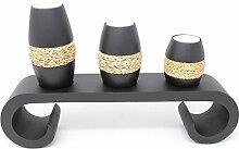 Trendy Wood & Light Life rund schwarz Kerzenhalter