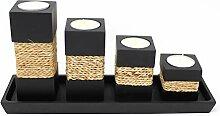 Trendy Wood & Light Step schwarz Kerzenhalter