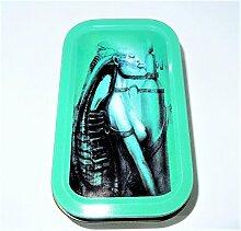 Trendz Tabakdose, 28 g, Motiv rauchender Alien, inkl. 2 Hefte