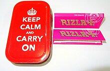 Trendz Tabakdose, Motiv: Keep Calm and Carry On, 28g, inklusive 2 Heftchen Rizla Standard-Zigarettenpapier, Ro