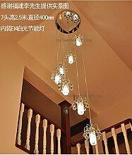 Treppe Leuchten Kronleuchter duplex Spirale Treppe Villa Kronleuchter Lampe Kronleuchter aus Kristall, minimalistische Lampe Restaurant Stock Stock,6 Höhe 2 m