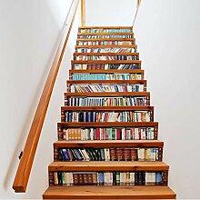 Treppen aufkleber Bücherregal 3D Treppe Aufkleber