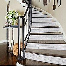 Treppenaufkleber Weiß 6 Teile/Satz Fliesen