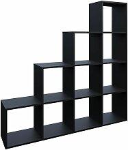 Treppenregal 10 Fächer Schwarz - Raumteiler