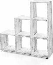 Treppenregal 6 Fächer - 105 cm Beton - Raumteiler