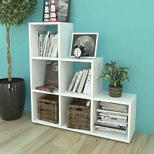 Treppenregal Bücherregal 107 cm Weiß